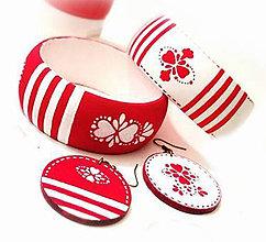 Sady šperkov - Set náušnice + náramok - Red Folk - 7909501_