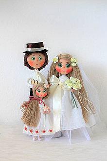 Dekorácie - Svadobný pár MAXI (so stojanom) - 7914747_