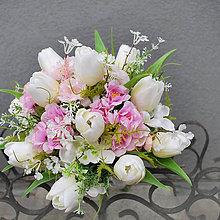 Kytice pre nevestu - AKCIA! Svadobná kytica tulipány a kvety čerešne - 7915545_