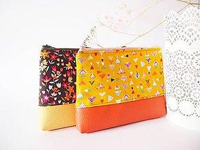Taštičky - Kozmetická taška veľká-geometrické kvety na žltej - 7913399_