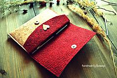 Peňaženky - Korková ľudová peňaženka bordó  - 7916851_