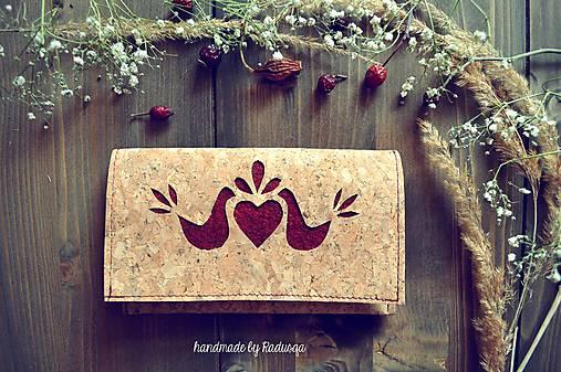 Korková ľudová peňaženka bordó