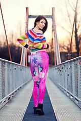 Nohavice - Farebné elastické legíny s motívom autorského obrazu: Mak - 7916793_