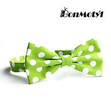 Doplnky - MOTÝLEK S BONMOTEM: Zelený puntíkovaný - 7912941_