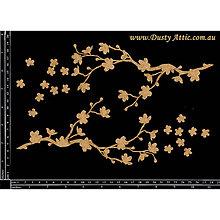 Papier - Dusty Attic - Cherry Blossom - Čerešnová halúzka a  kvety (lepenkové výrezy) - 7915222_