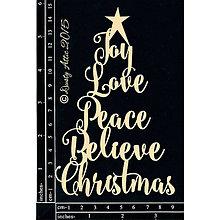 Papier - Dusty Attic - Christmas Word Tree - Vianočný stromček zo slov (lepenkový výrez na scrapbooking) - 7915704_