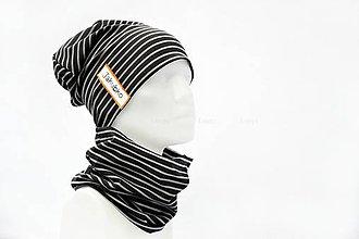 Detské súpravy - jarný set s maľovaným menom gray stripes & black - 7916854_