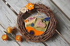 Dekorácie - Vtáčik vo venčeku č. 17 - 7915419_