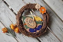 Dekorácie - Vtáčik vo venčeku č. 18 - 7915434_