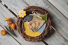 Dekorácie - Vtáčik vo venčeku č. 19 - 7915450_