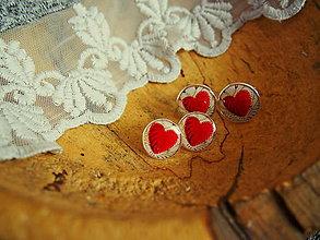 Sady šperkov - Srdiečková sada šperkov manžetiek a náušničiek - 7914078_