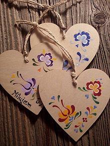 Dekorácie - Folklórne srdce / drevená preglejka - 7913646_