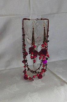 Sady šperkov - Fialový set s granátom a perleťou - 7914817_
