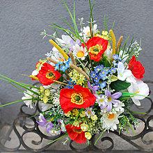 Kytice pre nevestu - Svadobná kytica z lúčnych kvetov + polvenček a pierko - 7920768_