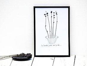 Obrázky - Obrázok z lisovaných rastlín doplnený kresbou - levanduľa III - 7919722_