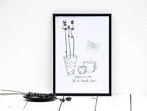 Obrázky - Obrázok z lisovaných rastlín doplnený kresbou - levanduľa I - 7919740_