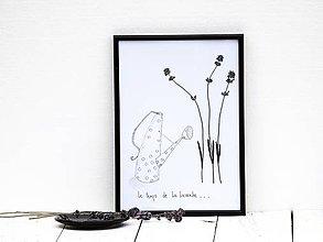 Obrázky - Obrázok z lisovaných rastlín doplnený kresbou - levanduľa II - 7919743_