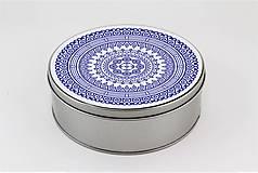 Krabičky - Plechová krabička okrúhla ornament 33 - 7918789_