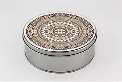Krabičky - Plechová krabička okrúhla ornament 33 - 7918801_
