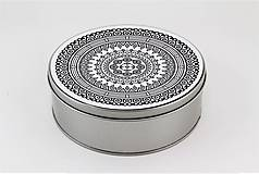 Krabičky - Plechová krabička okrúhla ornament 33 - 7918806_