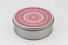 Krabičky - Plechová krabička okrúhla ornament 33 - 7918808_