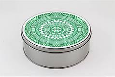 Krabičky - Plechová krabička okrúhla ornament 33 - 7918811_