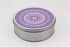 Krabičky - Plechová krabička okrúhla ornament 33 - 7918818_