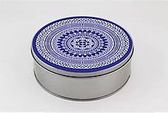 Krabičky - Plechová krabička okrúhla ornament 33 - 7918819_