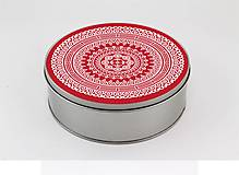 Krabičky - Plechová krabička okrúhla ornament 33 - 7918820_