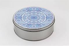 Krabičky - Plechová krabička okrúhla ornament 32 - 7918865_