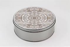 Krabičky - Plechová krabička okrúhla ornament 32 - 7918868_