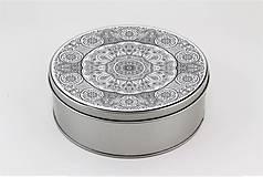 Krabičky - Plechová krabička okrúhla ornament 32 - 7918877_
