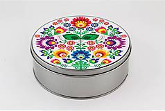 Plechová krabička farebné kvety folk 2