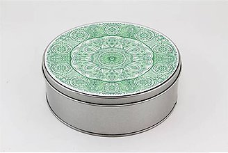 Krabičky - Plechová krabička okrúhla ornament 32 - 7918858_