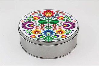 Krabičky - Plechová krabička farebné kvety folk 2 - 7918935_