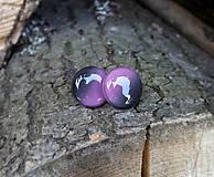 Náušnice - Fialovo-čierne napichovačky 15 mm - 7919890_