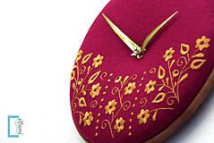 Hodiny - Potecha, ručne vyšívané nástenné hodiny - 7918264_