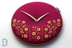 Hodiny - Potecha, ručne vyšívané nástenné hodiny - 7918266_