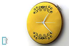 Hodiny - Túženie, ručne vyšívané nástenné hodiny - 7918360_