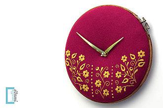 Hodiny - Potecha, ručne vyšívané nástenné hodiny - 7918265_