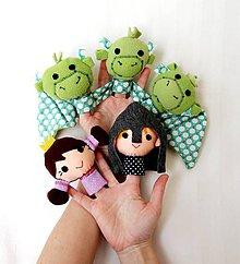 Hračky - Sada maňušiek na prst - Trojhlavý drak, princezná, rytier - princ - 7918991_