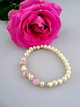 pravé perly, kunzit striebro náramok