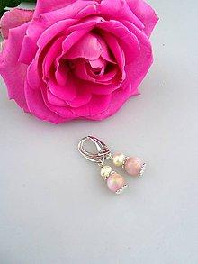 Náušnice - kunzit , pravá perla striebro náušnice - 7920521_
