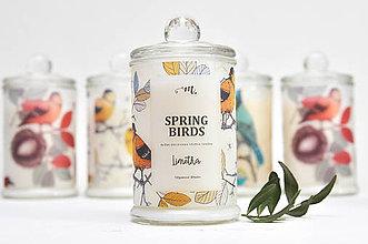 Svietidlá a sviečky - Spring Birds - Limetka / Sójová sviečka - 7919971_
