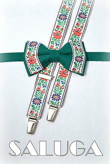 Detské doplnky - Detský set traky + motýlik folklórny, zelený - pre šibačov, družbov - 7920136_