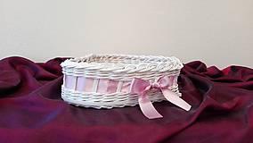 Košíky - Košík s ružovou mašličkou... - 7917853_