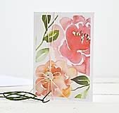 Papiernictvo - Pozdrav štýlový - kvety marhuľkové - 7922125_