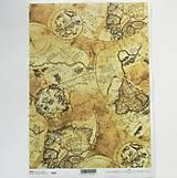 Papier - Ryžový papier na decoupage - A4 - R009 - mapa, svet, atlas - 7924621_