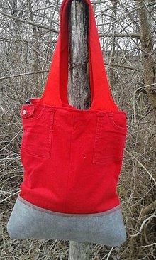Veľké tašky - Červená denimka - veľká taška - 7921192_