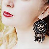 - Silver Black Mandala - vyšívané náušnice - 7923979_